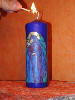 Kerze mit Maria und Jesuskind