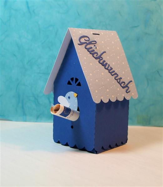 Vogelhaus aus Tonkarton als Geldgeschenk