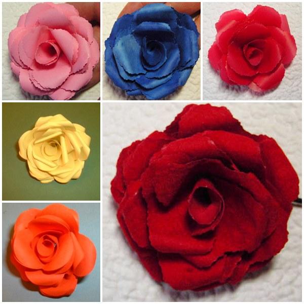 Rosen aus verschiedenen Papieren | Bastelfrau