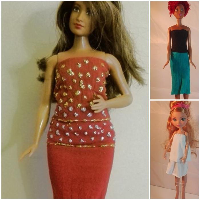 Barbiekleider aus Kinderstrumpfhosen selber machen