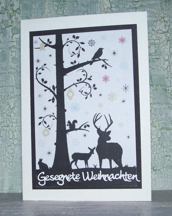 Weihnachtskarte Mit Falschem Scherenschnitt Bastelfrau