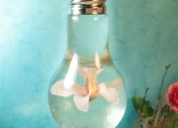 Deko-DIY: Glühbirnen mit schwebender Blumen