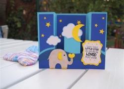 Boxkarte mit Elefant zur Geburt