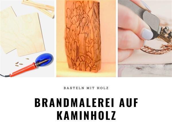 Brandmalerei auf Kaminholz