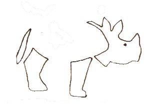 Tiere basteln mit Eicheln - Nashorn