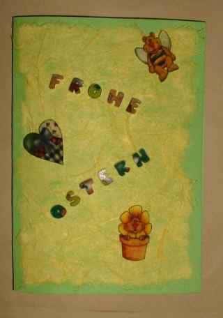 Osterkarte mit Embellishments aus Schrumpfplastik