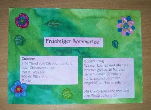 Rezeptkarte mit Blumen aus Kaltporzellan