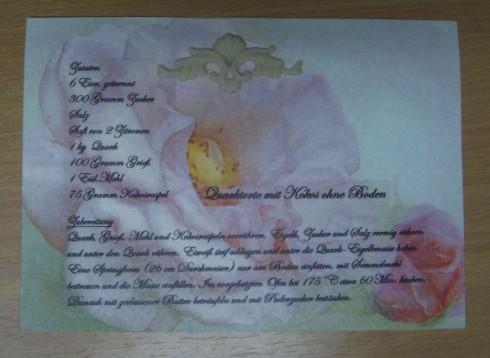 Rezeptkarte mit Ornament aus Kaltporzellan
