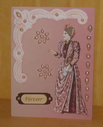 Karte mit Dame in Abendrobe