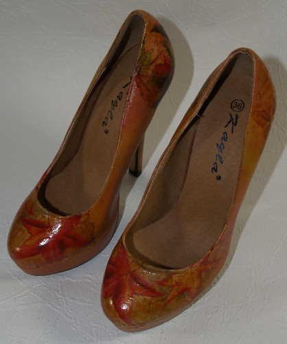Schuhe pimpen mit Serviettentechnik