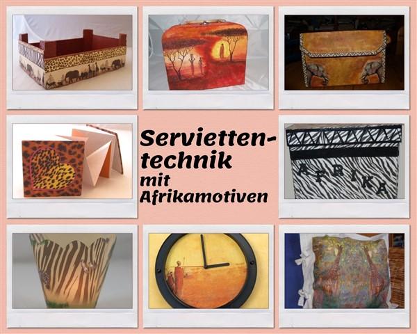 Serviettentechnik mit Afrikamotiven