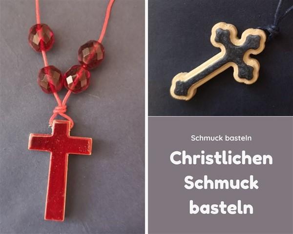 Christlichen Schmuck basteln - Kette mit Kreuzanhänger aus Holz