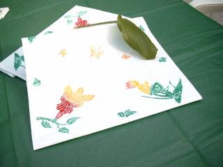 Decke mit Linoldruck