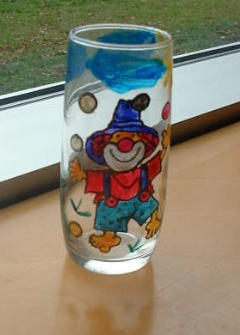 Glas mit Clown