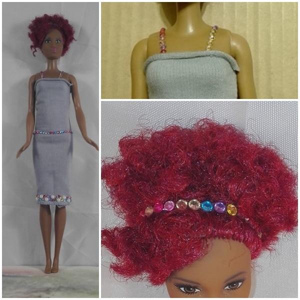Barbiekleid aus Stirnbändern - ohne Nähen