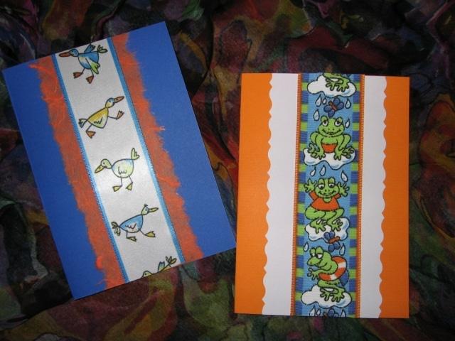 Gruß- und Glückwunschkarten mit Geschenkbändern