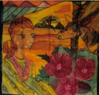 Seidenmalerei mit Wachsmalstiften