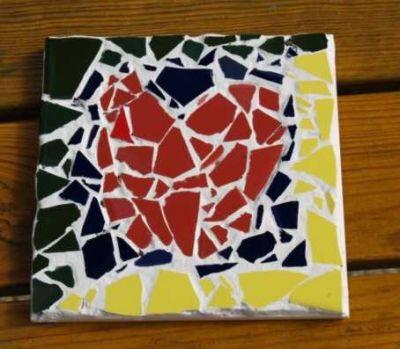 Mosaikfliese mit Herz