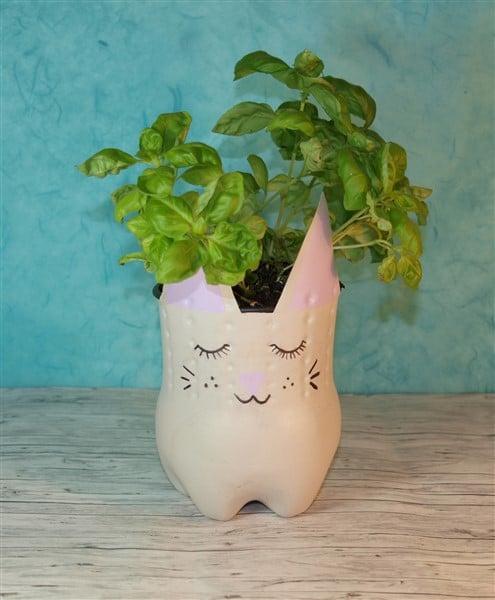 DIY Katzenblumentopf aus Plastikflasche