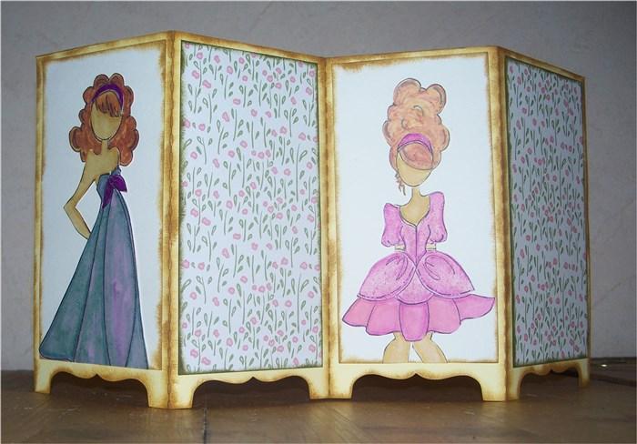 Paraventkarte mit Prima Dolls