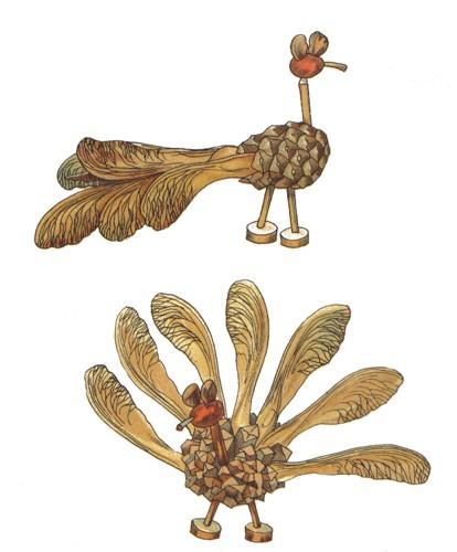 Vögel aus Bucheckern und Zapfen