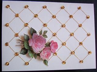 Rosenkarte mit Pailettenstickerei