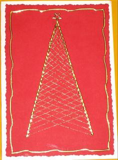 Bastelanleitung Weihnachtsbäume in Fadengrafik