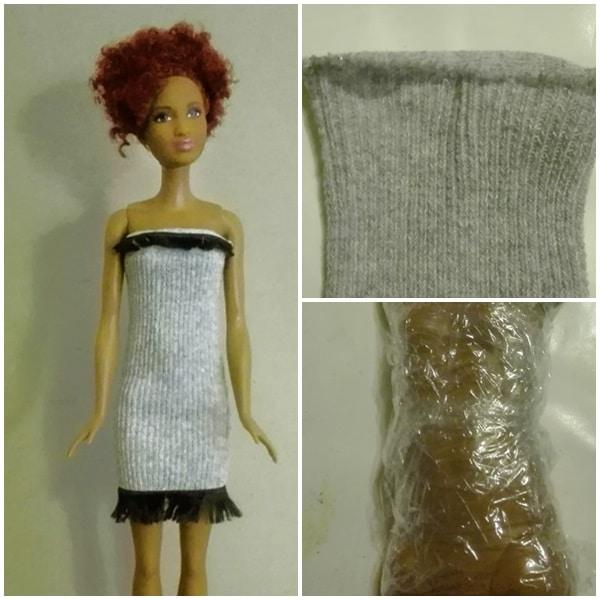 Fransenkleid ohne Nähen für die große Barbie