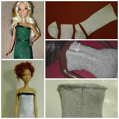 Kleider für Barbie und Co. aus Babysöckchen und Strumpfhosen