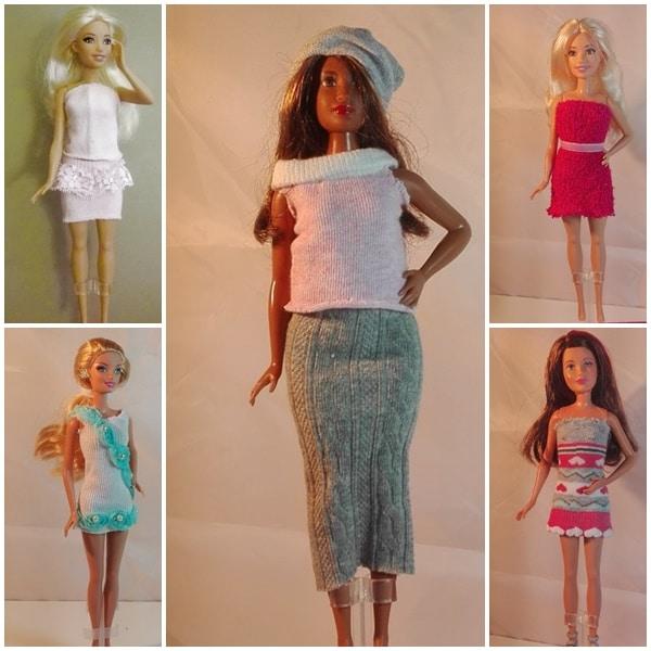 Neue Barbiekleider aus Babystrümpfen