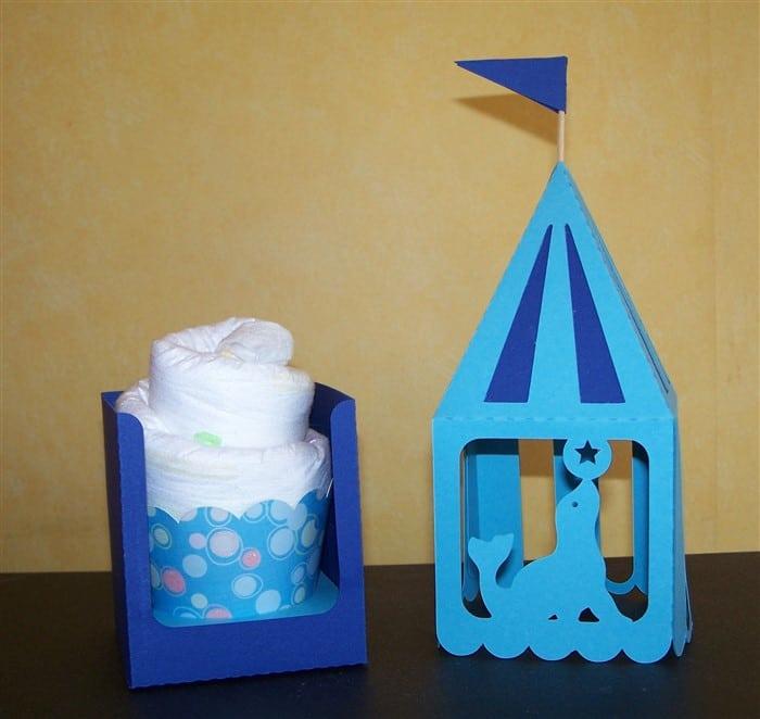 Verpackung für Windel-Cupcake