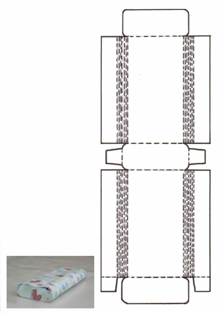 Bastelvorlage und Bastelanleitung für eine flache Schachtel mit abgerundeten Seiten