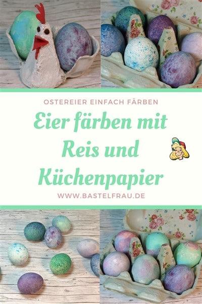 Eier färben mit Reis und Eier färben mit Küchenpapier