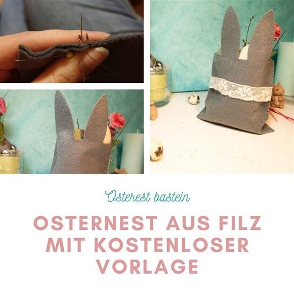 Ostergeschenke für Kinder basteln - Osternest aus Filz