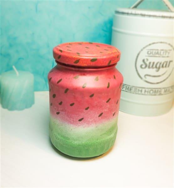 DIY Wassermelonenglas: Marmeladengläser Upcycling