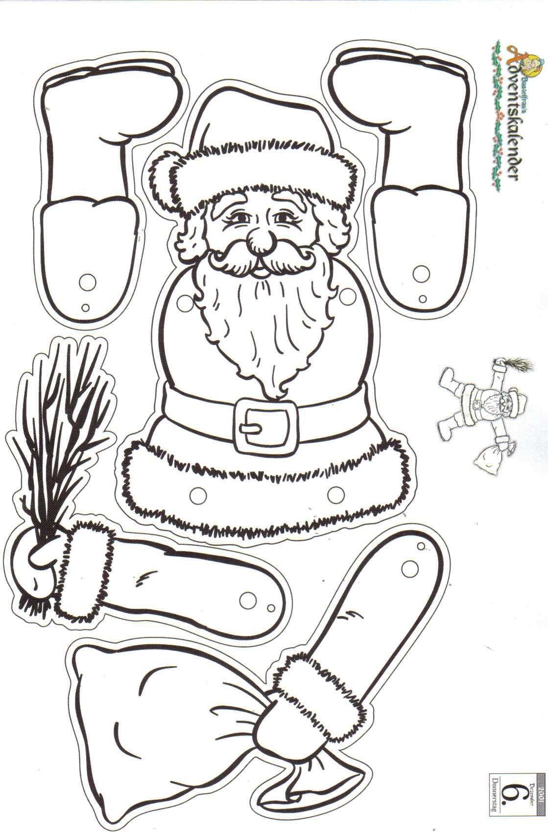 Weihnachtsmann Santa Holz Vorlage Zum Aussagen 4