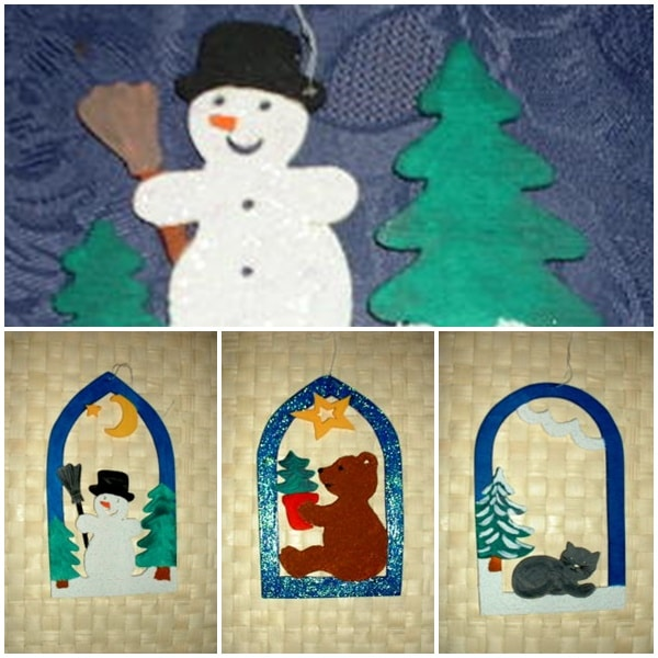 Weihnachtliche Fensterbilder aus Holz bemalen