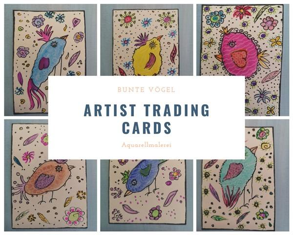 Artist Trading Cards Lustige Vögel in Aquarellmalerei