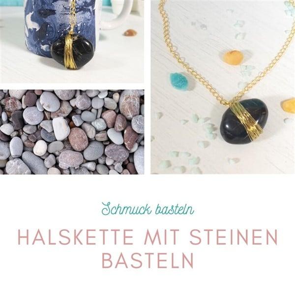 Halskette mit Steinen basteln
