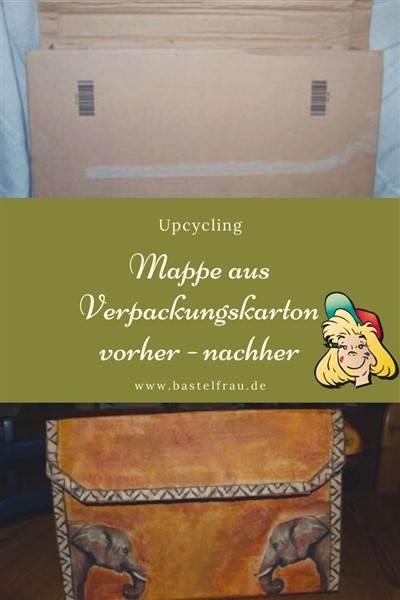 Serviettentechnik und Upcycling: Mappe aus Versandkarton