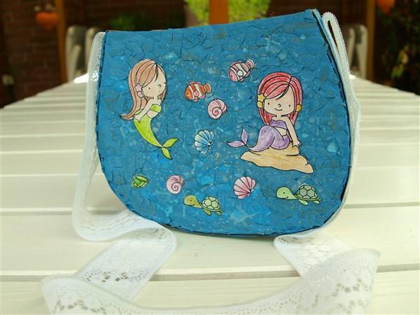 Meerjungfrauentasche - Papptasche mit Eierschalen
