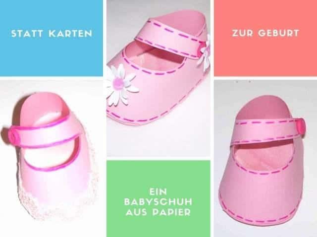 Babyschuh aus Papier statt Karte zur Geburt