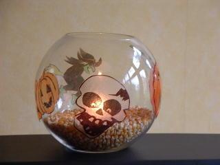Supergroßes Windlicht mit Halloweenmotiven
