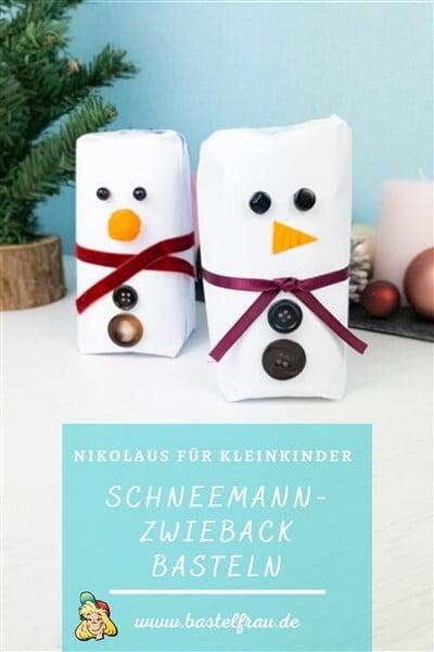Nikolaus für Kleinkinder: Schneemann-Zwieback als Schokoladen-Nikolaus-Ersatz