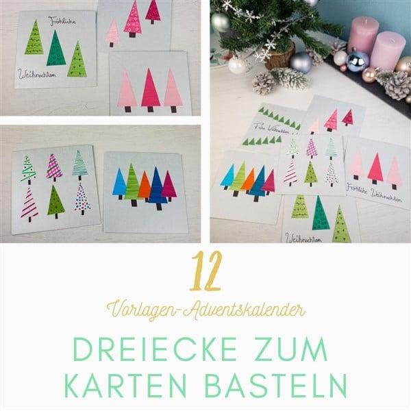 Bastelvorlagen-Adventskalender Türchen 12: Dreiecke zum Karten basteln
