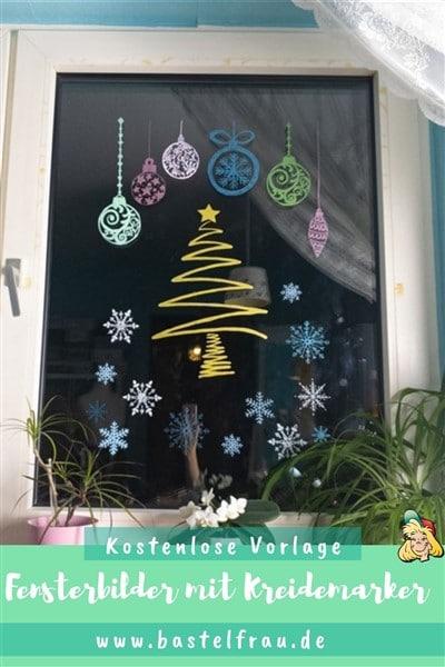 Bastelvorlagen-Adventskalender Türchen 6: Fensterbilder mit Kreidemarker
