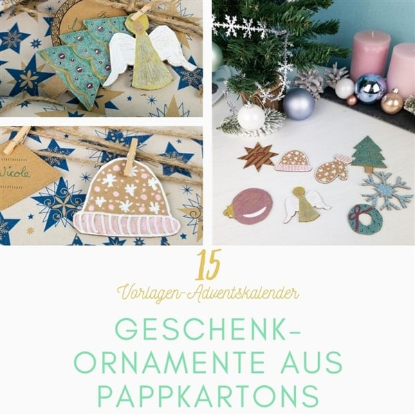 Bastelvorlagen-Adventskalender Türchen 15: Weihnachtsgeschenke verpacken mit Dekorationen aus Pappkartons