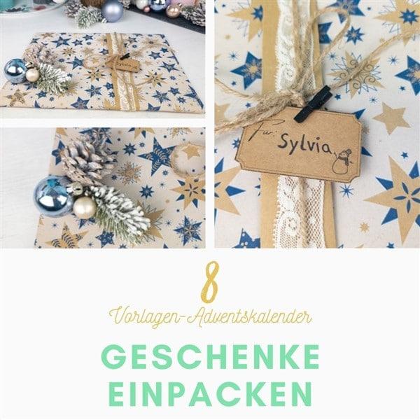 Bastelvorlagen-Adventskalender Türchen 8: Weihnachtsgeschenke einpacken mit Geschenkanhänger