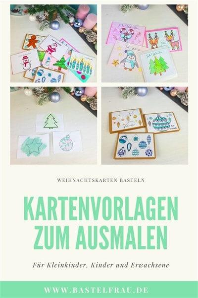 Weihnachtskarten basteln - Kartenvorlagen zum Ausmalen für Kinder und Erwachsene