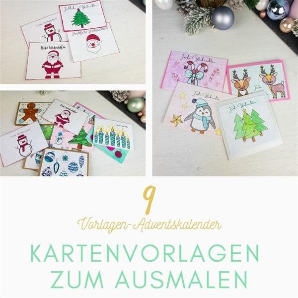 Bastelvorlagen-Adventskalender Türchen 9: Kartenvorlagen zum Ausmalen für Kinder und Erwachsene
